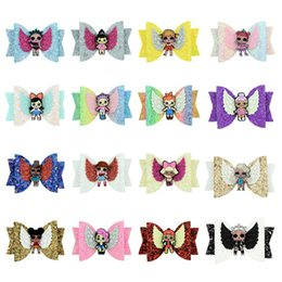 $enCountryForm.capitalKeyWord Australia - Girl Hair Bows 3.5 inches Surprise Colorful Shines Sequined Cloth Swallowtail Barrettes Kids Cute Baby Barrettes Hair Accessories