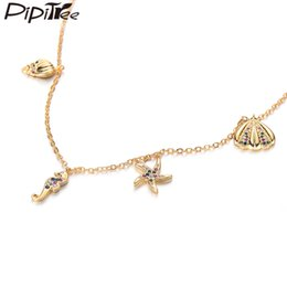 ConCh pendants online shopping - Pipitree CZ Conch Seahorse Starfish Shell Charms Necklace Gold Color Cubic Zirconia Women Choker Necklaces Fashion Jewelry Gift