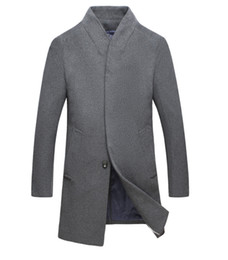 Wholesale high collar trench resale online - High Quality Men s Wool Trench Coat Stand Collar Long Coat New Fashion Winter Trench Slim Fit Jackets Plus Size XL Male