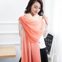63b963c1773c8 Women Gradient Silk Scarf Fashion Soft Elegant Long Wrap Scarves Ladies  Printed Shawl poncho wraps Winter Scarves 10 colors GGA1637