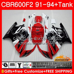 honda cbr f2 red fairings NZ - Body +Tank For HONDA CBR 600F2 CBR600FS CBR 600 FS F2 91 92 93 94 40HC.151 600CC CBR600 F2 CBR600F2 1991 1992 1993 1994 Fairing red white