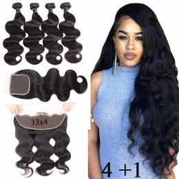 peruvian body wave hair bundles closure Australia - Peruvian Body Wave Remy Hair 4 Bundles With 4x4 Lace Closure Peruvian Body Wave Human Hair Weaves 4 Bundles With 13x4 Frontal Closure