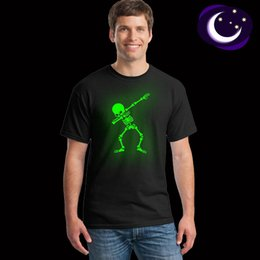 fluorescent tee shirt Australia - Hip Hop Fluorescent Dabbing Skeleton Mens T-Shirt Punk Black Shirts Luminous Men Funny Skull T Shirts Glow In Dark Mele Tees CX200613