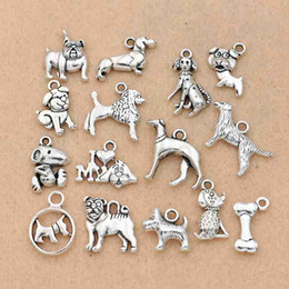 Craft Pendants Wholesale Australia - mix tibetan silver 15Pcs Mix Tibetan Silver Plated Dogs Charms Pendants for Jewelry Making Bracelet DIY Accessories Handmade Crafts Findings