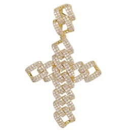 18k cuban chain UK - Hip Hop Gold Sliver Rosegold Cuban Chain CZ Cross Pendant Necklace Micro Pave Zircon Iced Out Jewelry Gift