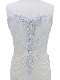 Crystal Trim For Wedding Dresses UK - handmade sew on silver rhinestones  applique on mesh peal 102443e89c49