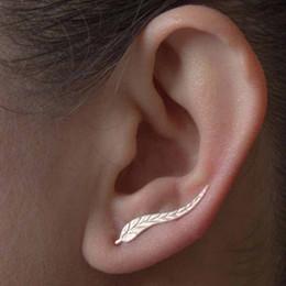 37591f151 Fashion Simple Metal Earrings Modern Jewelry Delicate Gold Color Leaf  Earrings For Women Beautiful Feather Stud Earrings Sale