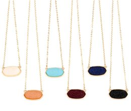 Wholesale 7 Colors Option Resin Drusy Look Hexagon Pendant Necklace Druzy Oval Pendant Choker Statement Necklaces for Women Jewelry Gift