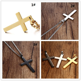 Stainless Cross Link Chain Australia - Mens Cross Pendant Necklaces Stainless Steel Link Chain Necklace Statement Charm Popular Jewelry gifts Fashion Accessories WCW025
