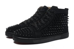$enCountryForm.capitalKeyWord Australia - Cheap red bottom sneakers for men Luxury black suede with Spikes fashion casual mens womens shoes Designer leisure trainers footwear 36-46