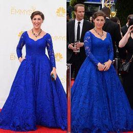 5d0833ed514 Blue Lace Celebrity Dress Vintage 2019 Emmy Awards Mayim Hoya Bialik New  Arrival Party V Neck Long Sleeves Evening Gown Communion Dresses