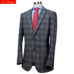 Grey Tweed Suits Australia - custom tailor made Men's bespoke suits business formal wedding ware bespoke 1 piece Jacket coat grey whales plaid tweed wool