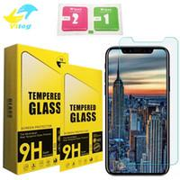 Iphone Shattered Screen Australia - For iPhone XR XS Max Tempered Glass Screen Protector For Iphone 8 X J7 prime LG Aristo Film 0.33mm 2.5D 9H Anti-shatter Paper Package