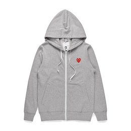 red white heart cotton Australia - Mens designer jackets HOLIDAY Heart Emoji CDG play hoodie shirt off red heart white comm des cotton garcons hood casual windbreaker jackets