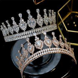$enCountryForm.capitalKeyWord Australia - New Cubic Zirconia Royal Silver Rose Gold Wedding Bridal Headdress Crown Women's Hair Accessories Zircon crown Wedding Accessories
