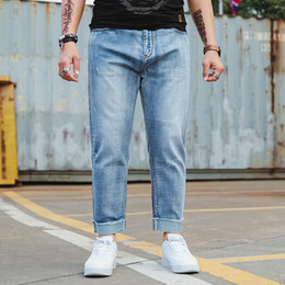 9e6f3f974c1 Plus Size S-XXXXXXL Fashion Designer Brand Elastic Straight Jeans New Men  Mid Pants Slim Skinny Men Jeans Stretch for Man