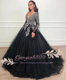 fdda58faae Cinderella black Arabic Ball Gowns Prom Dresses Long Sleeve with grey lace  Appliqued v neck crystal beaded 2019 Evening Gowns custom made