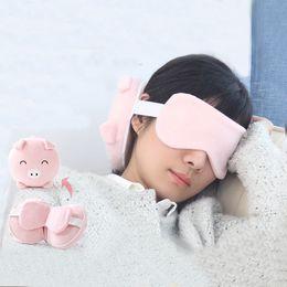 Plane Travel Pillow NZ - Portable Cartoon Neck Pillow with Eye Mask Pillow Eyelashes Eye Lash Striped Foldable for Sleeping Travel plane flight