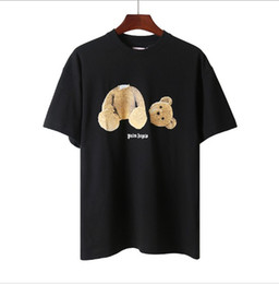 Wholesale tshirt fashions online – design Mens Designer Tshirt Palm Angels Fashion Style Cartoon Bear Letter Printing Black and White Loose Tee for Men and Women