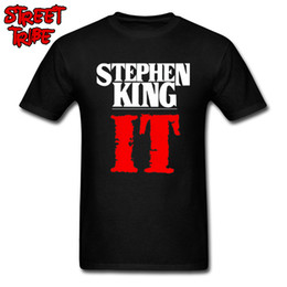 print science 2019 - 2019 Letter T-shirt Stephen King It Men Horror Novel T Shirts High Street Custom Printed Male Cotton Clothes Science Fic