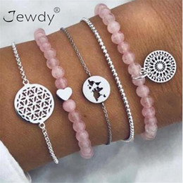 $enCountryForm.capitalKeyWord Australia - 5 Pcs set Hollow Pattern Heart Earth Map Bead Charm Bracelets For Women Boho Pink Crystal Stone Link Chain Jewelry Wholesale