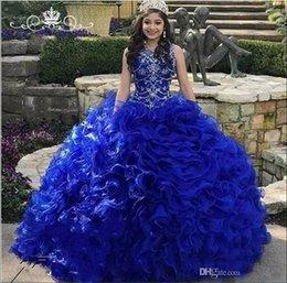 Blue Coral Beads Australia - Royal Blue Organza Quinceanera Dresses 2019 Beads Crystal Cascading Ruffles Ball Gown Sweet 16 Prom Dress Vestidos De 15 Anos