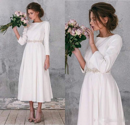 $enCountryForm.capitalKeyWord Australia - Vintage Stain A Line Jewel Wedding Dresses Bohemia Beach Tea Length Bridal Gowns Beaded Sash Long Sleeves Formal Party Dress