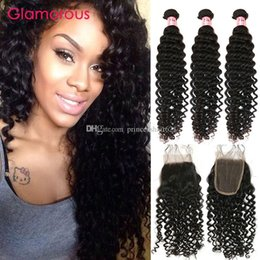 Discount curly peruvian hair bundles closures - Glamorous Brazilian Virgin Hair Curly Deep Wave with Closure Peruvian Indian Malaysian Human Hair 3 Bundles with Lace Cl