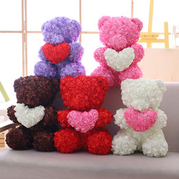 $enCountryForm.capitalKeyWord Australia - New Arrival 40CM Valentine's Day Gift 5 Colors Big Rose Bear Huging Heart Plush Toys Cotton Teddy Bears Sweet Smell Doll GirlFriend Gift