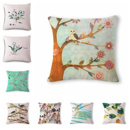 cushion patterns NZ - Fresh Green Leaves Flower Pattern Cotton Flax Pillow Back Cushion Cushion Can Customized