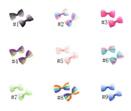 $enCountryForm.capitalKeyWord Australia - Gradient Rainbow Handmade Hairpin Baby bow Barrettes Children Bow with Hair alligator clips Bowknot Hairpins Kids Infants Hair Accessories