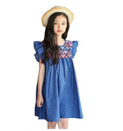 $enCountryForm.capitalKeyWord Australia - New Summer 2018 Petal Sleeve Cotton Baby Girls Dress Princess Costume For Kids Clothes Toddler Big Teenage Girl Denim Dress 4-14MX190822