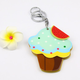 $enCountryForm.capitalKeyWord Australia - cup cake acrylic compact makeup mirror keychain custome key decoration bag accessories multi function keycharms promotion gifts
