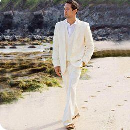 $enCountryForm.capitalKeyWord Canada - Summer Beach Ivory Linen Men Suits Latest Coat Pants Designs Groom Wedding Tuxedos Custom Made Best Man Blazer Jacket 3Piece Terno Masculino