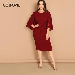 $enCountryForm.capitalKeyWord Australia - Colrovie Plus Size Burgundy Solid Split Sleeve Tie Waist Bodycon Elegant Dress Women Clothes 2019 Spring High Waist Casual Dress Y19073101