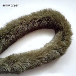 Real Fur Trimmed Jackets Australia - real rabbit fur hoody trim scarf coat hooded natural fur time DIY coat jacket trim fashion hot Ladies clothing accessories
