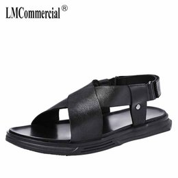Stick SoleS online shopping - Casua Beach Shoes Men s Genuine Leather Summer Magic Stick Roman Sandals Men Soft soled all match cowhide Slippers Flip Flops