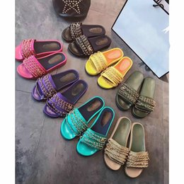 Women Genuine Leather Slides Australia - big size 40 41 42 genuine leather chain slide flat sandals luxury women designer outdoor beach fashion causal rubber sandals
