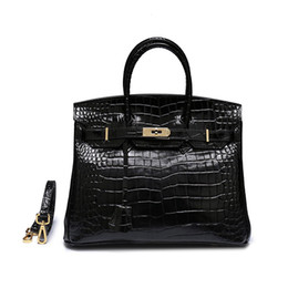 Discount black cowhide leather tote bag - Designer Genuine Leather Retro Women Shoulder Bag Crocodile Handbag Cowhide Casual Totes High Quality Black Bags