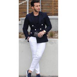 Suit Navy Blue Gold Australia - 2017 Navy Blue Double Breasted Men Suit Casual Blazer costume homme Tuxedo Custom Jacket Style men Suit 2pcs(jacket+white pants) #556025