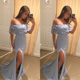 $enCountryForm.capitalKeyWord NZ - Modest Side Split Prom Dresses 2018 Off Shoulder Lace A Line Sheath High Slit Light Sky Blue Blush Evening Party Pageant Gowns Cheap