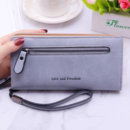 Discount big money bag - 2019 New Women Clutch Leather Wallet Female Long Wallet Big Capacity Zipper Purse Strap Money Bag Coin Purse