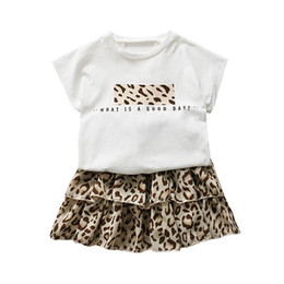 Leopard Kids T Shirts UK - Leopard Girls Outfits 2019 new Summer Kids Sets T shirt+Tiered Skirts Girls Dress Suits Kids Designer Clothes Girls suits kids clothes A3903