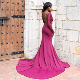$enCountryForm.capitalKeyWord Australia - African Mermaid Prom Dresses V-Neck Illusion Satin Lace Appliques Beaded Long Sleeves Backless Special Occasion Party Evening Gowns