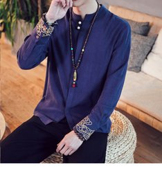 1221612908d Men Linen Shirts Long Sleeve Chinese Style Mandarin Collar Traditional Kung  Fu Tang Suit Clothes Casual Social Shirt Plus Size
