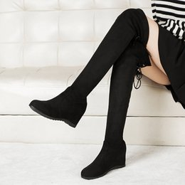 $enCountryForm.capitalKeyWord NZ - Women Long Tube Boots Low Heel Wedges Over Knee 2019 Winter Party Boot Stylish Elastic Band Stretchy Sock Botas Snow Shoes Warm