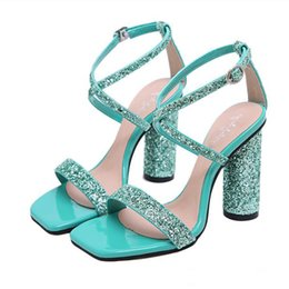 $enCountryForm.capitalKeyWord Australia - 2019 Glitter green red sequined cross strappy wedding shoes silver gold thick heels luxury designer sandal women shoes Size 35 To 40