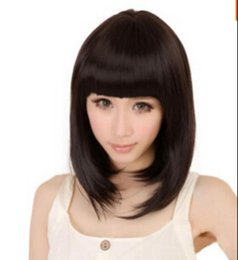 straight bangs wig UK - WIG free shipping Women Lady Black Straight Full Bang Hair Cosplay Hairpiece Faux Costume Wig