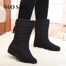 Lady Snow Boots Mid Calf Australia - Winter Women Boots Mid-Calf Down Boots Female Waterproof Ladies Snow Boots Girls Winter Shoes Woman Plush Insole Botas Mujer