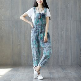 738bcd17dfe High Waist Jeans Woman Baggy 2019 Spring Autumn Print Rompers Womens  Jumpsuit Casual Cotton Denim Overalls for Women Macacao New